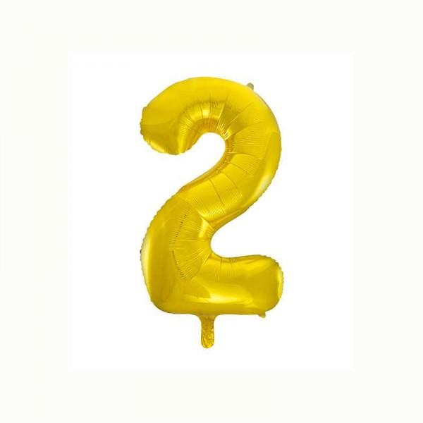 Folienballon Zahl 2 metallic-gold, 1 Stk.