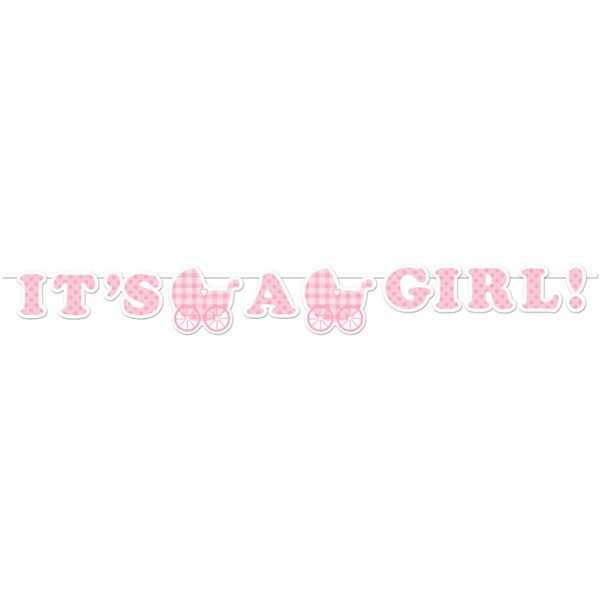"""Babyshower Girlande """"Hurra, ein Mädchen!"""", 1 Stk"""