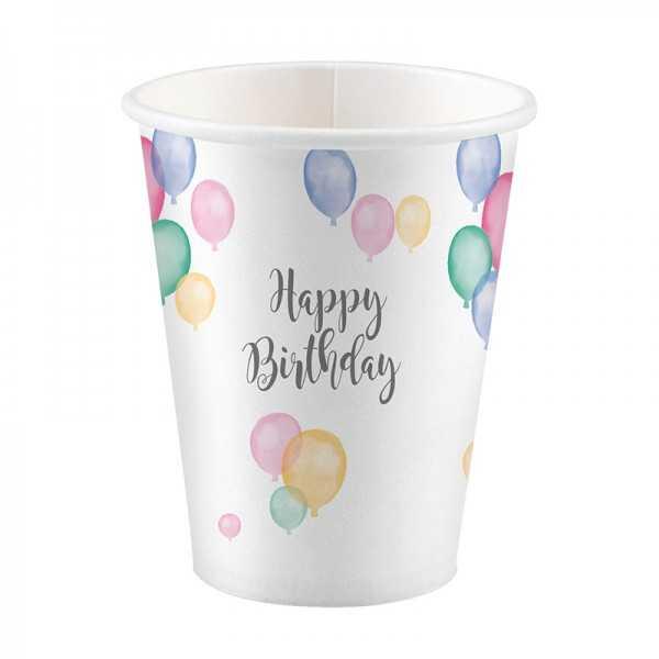 Becher Happy Birthday Pastell, 8 Stk.