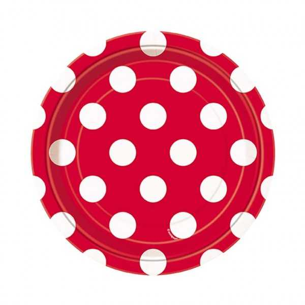 Teller rot  mit weissen Punkten