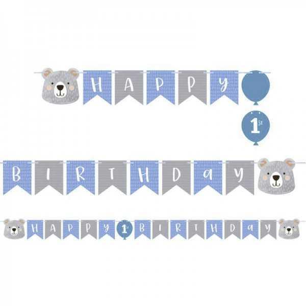 Girlande Happy Birthday Bäriger Geburtstag