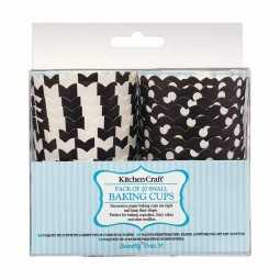 Papierbackförmchen-Set schwarz mit Muster, 20 Stk.