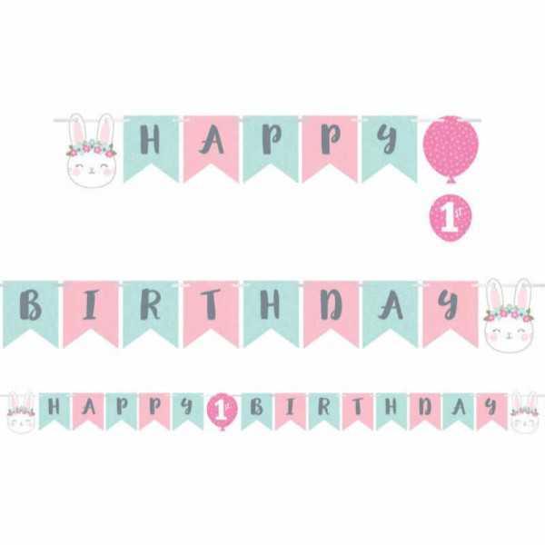 Girlande Happy Birthday Kleines Häschen