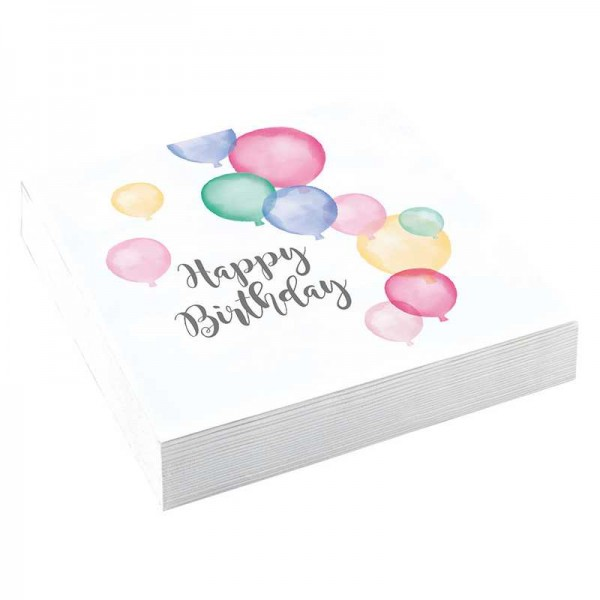 Servietten Happy Birthday Pastell, 20 Stk.