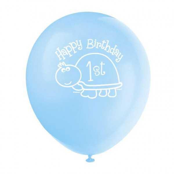 Luftballons 1. Geburtstag. Schildkröte, 8 Stk