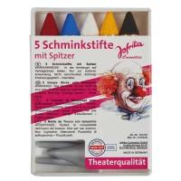 Theater Schminkstifte mit Spitzer, 5 Stk