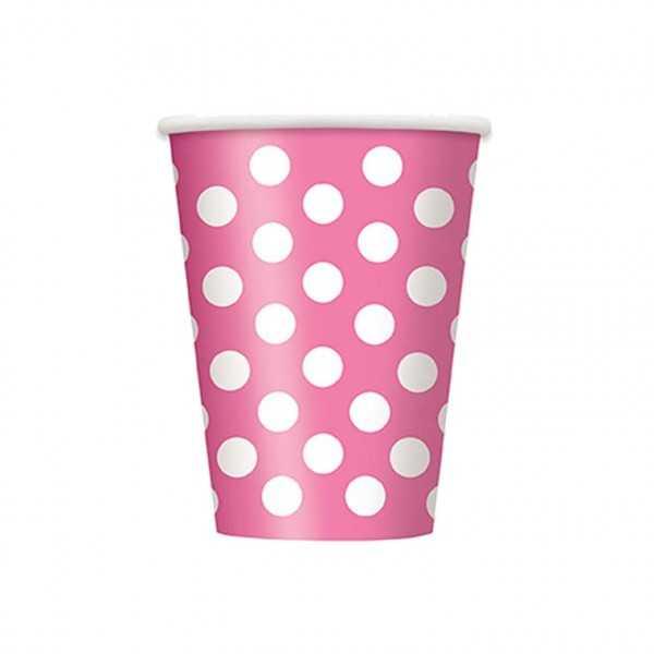 Becher rosa mit weissen Punkten, 6 Stk.