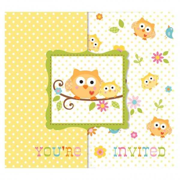 Einladungskarten Baby Shower Eulenparty, 8 Stk