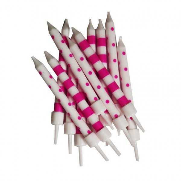 Minikerzen pink weiss gestreift, 12 Stk