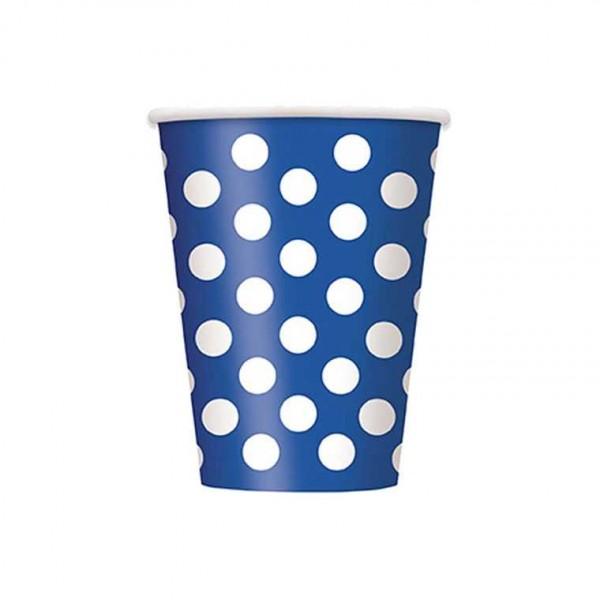 Becher blau mit weissen Punkten, 6 Stk.