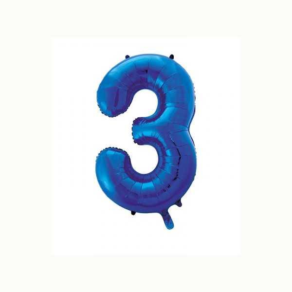 Folienballon Zahl 3 metallic-blau, 1 Stk.