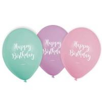 Luftballons Happy Birthday Pastell, 6 Stk.