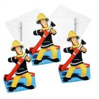 Einladungskarten Feuerwehrmann Sam, 8 Stk.