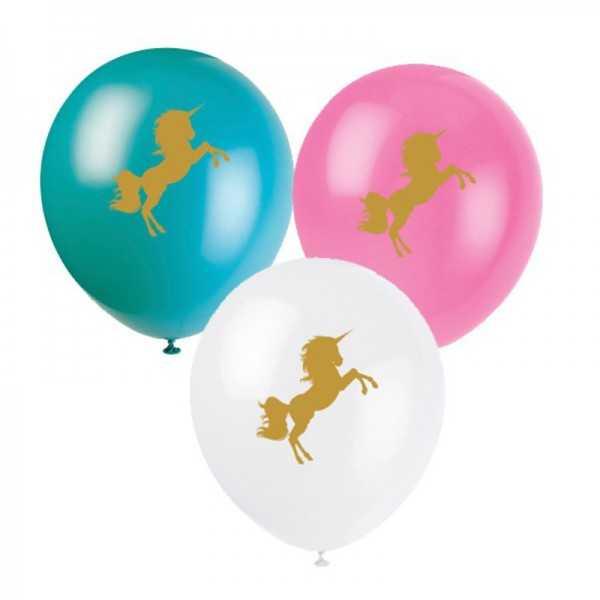 Luftballons goldenes Einhorn, 8 Stk.