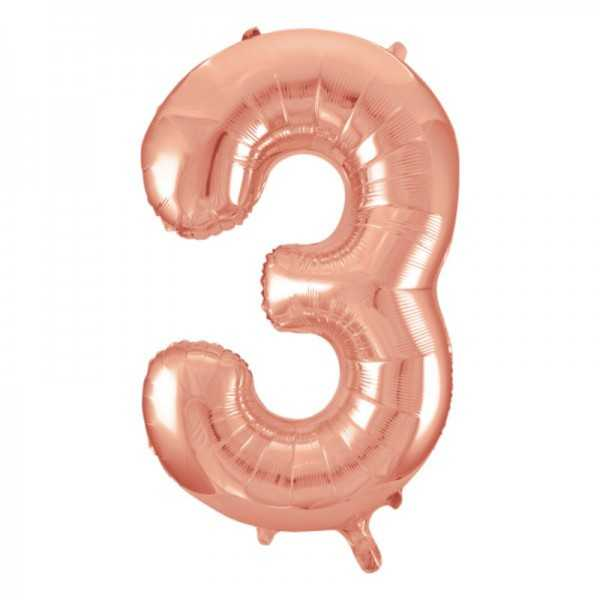 Folienballon Zahl 3 Rose Gold, 1 Stk.