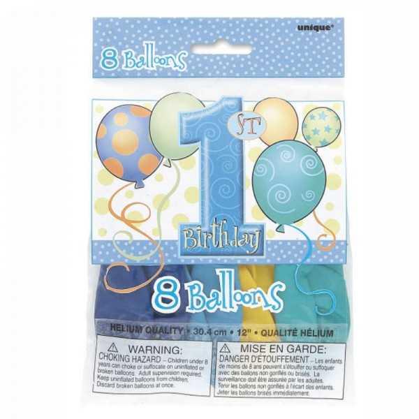 Luftballon 1. Geburtstag Luftballon Mehrfarbig, 8 Stk