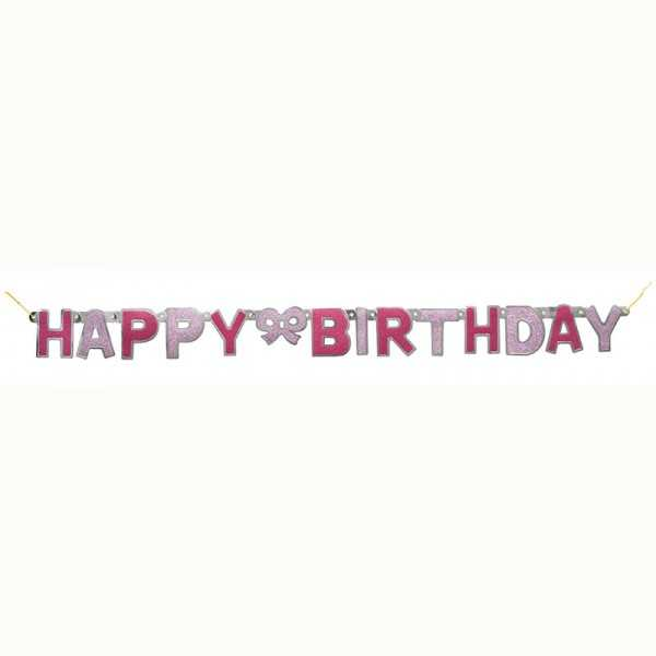 Girlande HAPPY BIRTHDAY glitzer-pink, 1 Stk